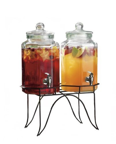 Del Sol Set Of 2 Glass Juice Beverage Dispensers On Rack