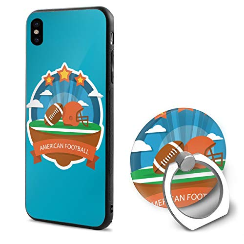 Barton Apple iPhone Xs Case(2018) / iPhone X Case(2017) + Finger Ring Stand Holder 360 Degree Rotating Combo Set - American Football Rugby (Barton Rugby)