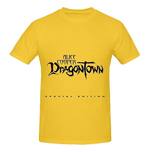 Alice Cooper Dragontown 80s Mens O Neck Art Shirts Yellow