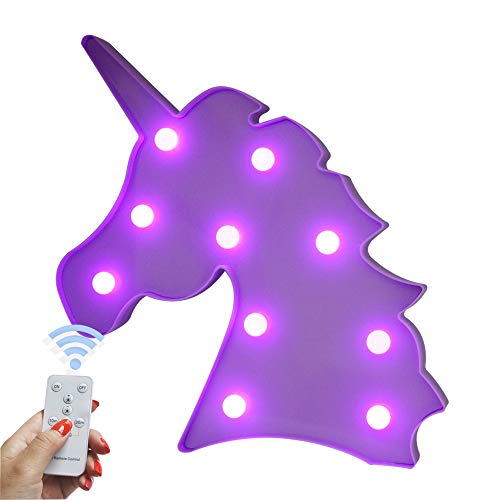 Decorative Night Light LED Marquee Sign with Wireless Remote Control for Kids Room, Bedroom, Gift, Party, Home Decorations (Blue Unicorn Head - Purple Glow)