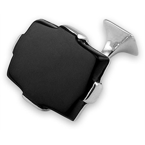 (Sterling silver large onyx rectangular cufflinks)