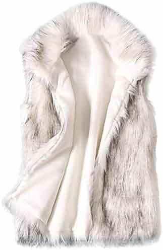 Sttech1 Women's Wool Sleeveless Vest Faux Fur Vest Stand Collar Faux Fur Coat Vest Jacket White