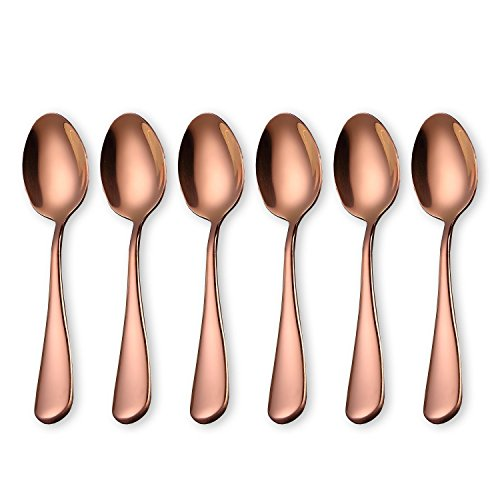Demitasse Espresso Spoons, Mini 18/10 Stainless Steel Bistro Spoon,12 cm (4.95 Inch), Set of 6 (Rose Gold)