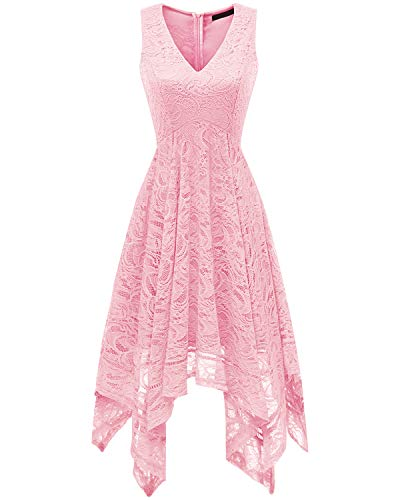 Bridesmay Women's Elegant V-Neck Sleeveless Asymmetrical Handkerchief Hem Floral Lace Cocktail Party Dress Pink XL