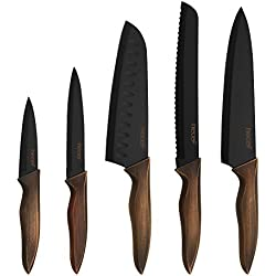 Hecef Kitchen Knife Sets, Stainless Steel Non Stick Black Color Coating Blade Knives, Includes 8'' Chef, 8'' Bread, 7'' Santoku, 5''Utility and 3.5'' Paring