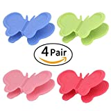 4 Color 8 Pcs Multi functional Silicone Cooking Pinch Grips ,Butterfly Shape,Silicone Pot Holder,Kitchen Gadget