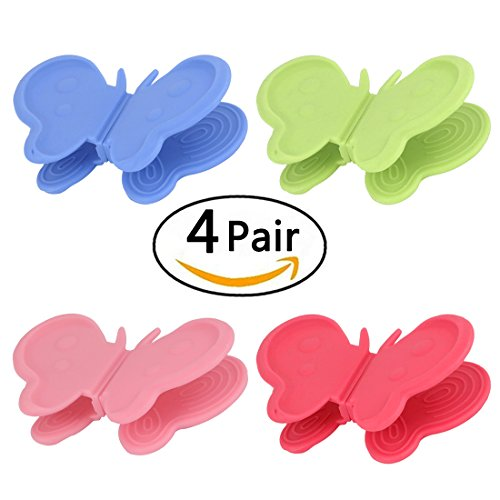 4 Color 8 Pcs Multi functional Silicone Cooking Pinch Grips ,Butterfly Shape,Silicone Pot Holder,Kitchen - Perfect Magnet Refrigerator Pair