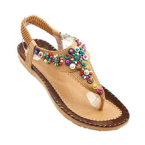 Shoes Flip Sandal Summer Women Flop Beige Bead Donalworld Retro gq6ZxpF