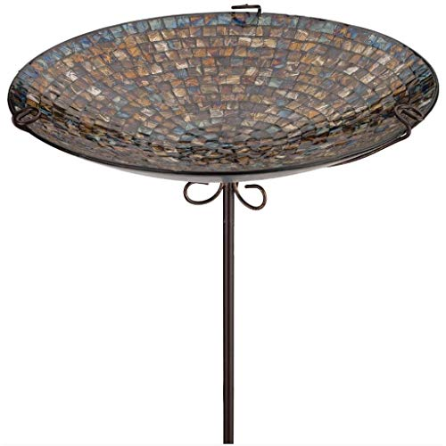 Regal Art & Gift 14 Inches x 14 Inches x 26 Inches Birdbath Feeder Stake Iridescent Blue Garden Decor]()