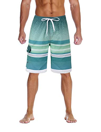 Nonwe Men's Swimming Shorts Quick Dry Striped Summer Holiday Beach Trunk Drawsting Green 32 -