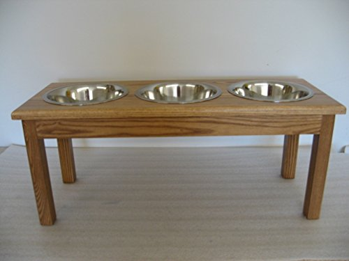 Cheap Classic Pet Beds 3-Bowl Large Traditional Style Ash Pet Diner, Medium Walnut