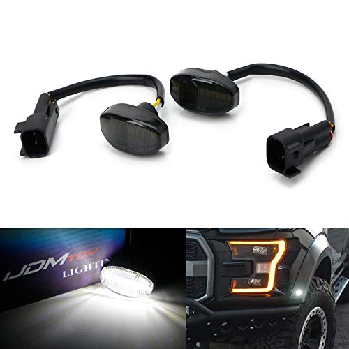 iJDMTOY Smoked Lens White Full LED Front Side Marker Light Kit For 2010-14 Ford Raptor, Powered by 12-SMD LED, Replace OEM Sidemarker Lamps
