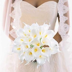 GTIDEA 20Pcs Fake PU Calla Lily Artificial Flowers Bride Wedding Bouquet for Table Centerpieces Arrangements Home DIY Garden Office Decor (White) 4