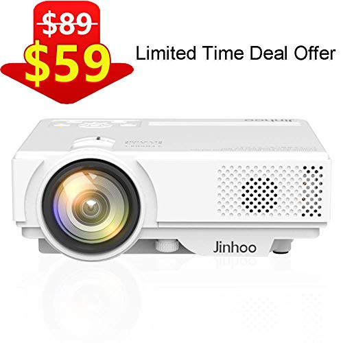 "2019 Newest, Jinhoo Mini Projector 1080P Supported, 2600Lux HD Video Projector with 176"" Projector Size, 50000 Hours Lamp Lifetime, Compatible with TV Stick, HDMI, AV, USB for Home Theater, Movie"
