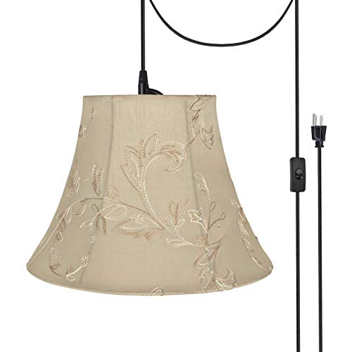 Aspen Creative 70219-21 One Plug-in Swag Pendant Light Conversion Kit with Transitional Bell Fabric Lamp Shade, Apricot, 13