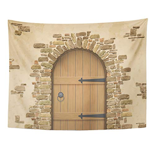 Emvency Tapestry 80 x 60 Inches Brown Brick Arch of Stone Closed Wooden Door Entrance to The Wine Cellar Castle Wood Old Wall Vintage Wall Hanging Home Decor Tapestries Bedroom Dorm Living Room