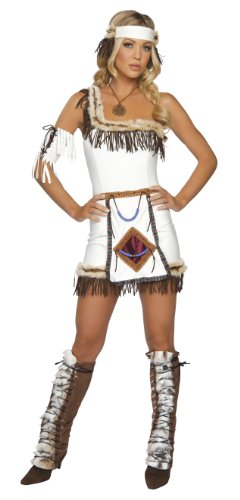 Roma Costume 4 Piece Indian Chief Costume, White, (Indian Chief Costume Women)