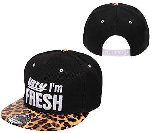 Lot de 12 - Casquette snapback sorry i'm fresh noir & leopard - Qualité COOLMINIPRIX®