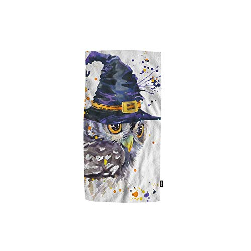 Mugod Towel Watercolor Cute Halloween Owl and Witch Hat Decorative Soft Absorbent Guest Hand Towel Spa Gym Hotel Bath Bathroom Shower Towel 15x30 Inches]()