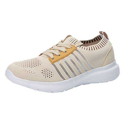 Womens Fashion Sneakers Lightweight Breathable Lace Up Sneakers Stripe Hollow Mesh Platform Sport Walking Shoes