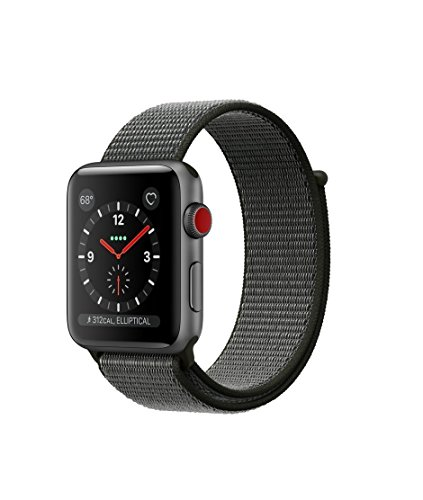 Apple watch series 3 Aluminum case Sport 42mm GPS + Cellular GSM unlocked (Space Gray Aluminum case with Dark Olive sport loop) by Apple Computer