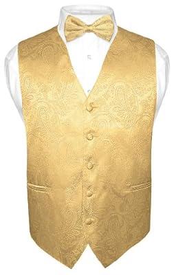 Men's Paisley Design Dress Vest Bow Tie GOLD Color BOWTie Set for Suit or Tux