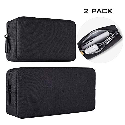 Universal Electronics Accessories Case, 2-Pack Portable Soft Carrying Case Bag Wire Cable Organizer for Hard Drive, Power Adapter, Laptop Mouse, Cosmetics Kit, Small+Big-Black (Power Electronic Design Adapter Cable)