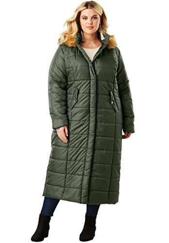 Parka Quilted Length - Roamans Women's Plus Size Quilted Faux-Fur Trim Maxi Length Parka - Deep Olive, M