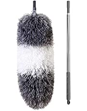 """BOOMJOY Telescoping Duster, 100"""" Extendable Cobweb Duster, Scratch-Resistant Cover, Stainless Steel Pole, Detachable Bendable Head, Washable"""