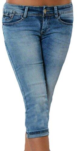 Spirio Women's Bow Skinny Stretchy Mid Rise Bodysuit Denim Jeans Capri Pants Light Blue M (Short Bow Denim)