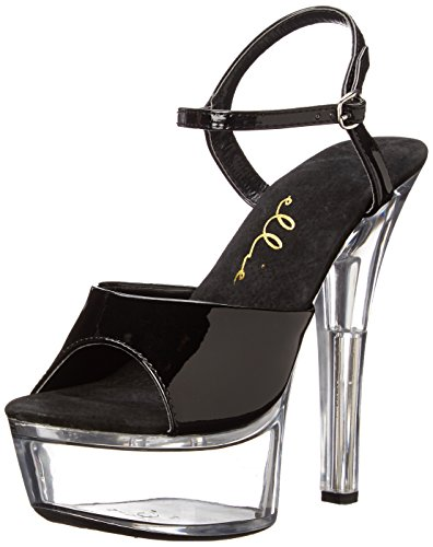 Ellie Shoes Women's 601 Juliet C Platform Sandal, Black/Clear, 9 M US (Juliet Black Shoes)