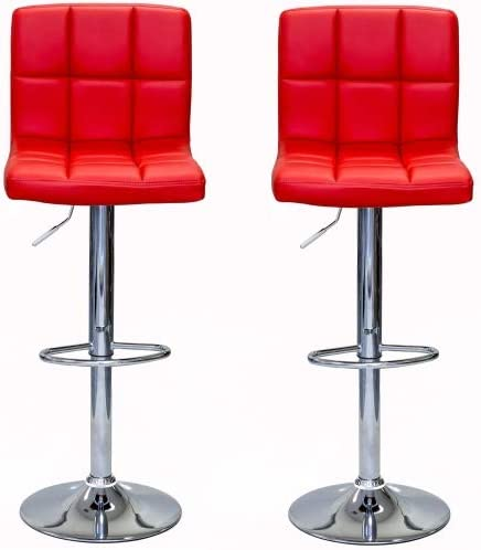 Viscologic Liberty Swivel Leatherette Adjustable Hydraulic Bar Stool, Set of 2 RED
