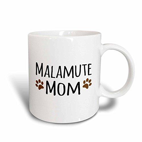 3dRose (mug_154155_6) Malamute Dog Mom - Doggie by breed - brown muddy paw prints - doggy lover - pet owner mama love - Two Tone Blue Mug, 11oz