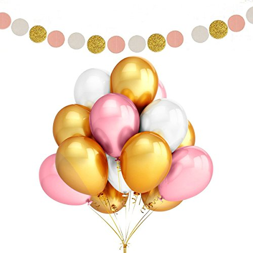 Fascola 100 Pack 12 Inches Ultra Thickness Gold & Pink & White Color Latex Party Balloons with Polka Dot Garland for Party Decorations -