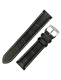 Hirsch Modena Black Alligator Embossed Leather Watch Strap 103028-50-24