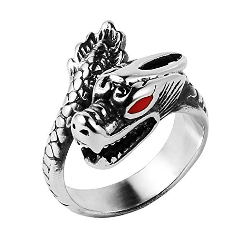 Wrap Around Dragon - HZMAN Mens Vintage Gothic Chinese Dragon Stainless Steel Band Rings Silver Black Punk Biker Rings Size 8-12 (9)
