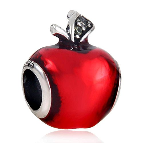 Apple Charm With Red Enamel Charm 925 Sterling Silver