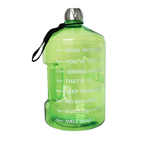 BuildLife 1 Gallon Water Bottle Motivational Fitness Workout with Time Marker |Drink More Water Daily | Clear BPA-Free | Large 128 Ounce/43OZ of Water Throughout The Day (1 Gallon-Green, 1 Gallon)