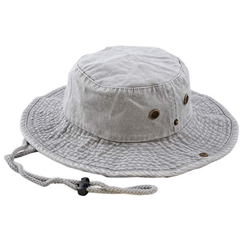 THE HAT DEPOT 100% Cotton Stone-Washed Safari Wide Brim Foldable Double-Sided Outdoor Boonie Bucket Hat (S/M, Pigment - Grey) - Brim Large Bucket