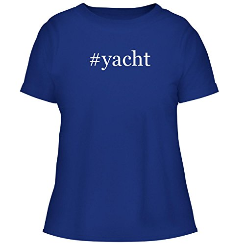 BH Cool Designs #Yacht - Cute Women's Graphic Tee, Blue, X-Large ()