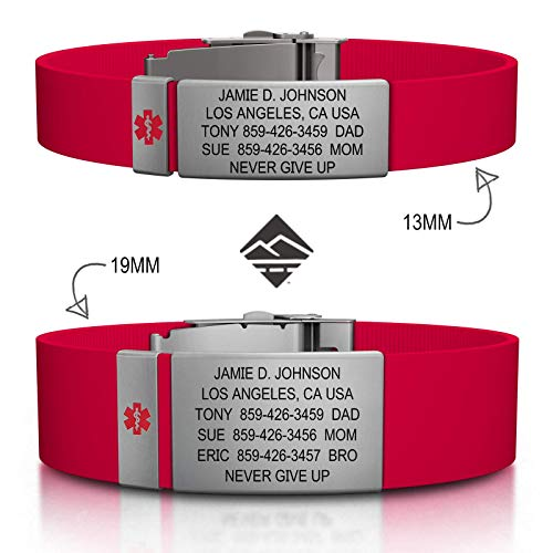 Road ID Personalized Medical ID Bracelet - Official ID Wristband with Medical Alert Badge - Silicone Clasp - Medical Jewelry Id Plate