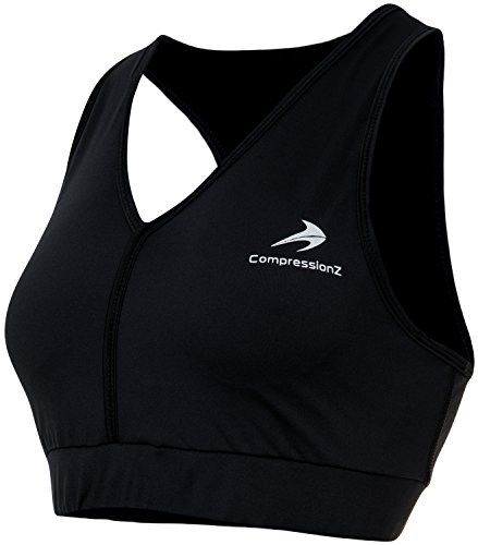 CompressionZ Padded Racerback Sports Bra (Black - L) - No-Bounce Support for High Impact Fitness & Yoga