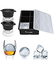 FYLINA HK03002-BLK Ice Model Trays 5 Pack Silicone Large Ice Cube Trays with Lids FDA Approved Ice Cube Moulds & 8 Cavity Ice Maker Tray for Whiskey Baby Food Cocktail Drinks