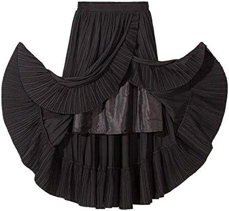 MIBKLPG Röcke Für Frauen Sommer Art Und Weiseeleganter Beiläufiger Rock Hohe Taillen Unregelmäßige Rüschen Faltenrock Schwarz