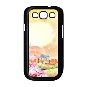 Samsung Galaxy S 3 Case 3D, Beautiful Village Landscape Illustration Case for Samsung Galaxy S 3 black lms317561780