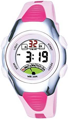 Outdoors Sports Digital Girls Watches Multi Functions Led Water Resistant Kids Wirst Watches Pink