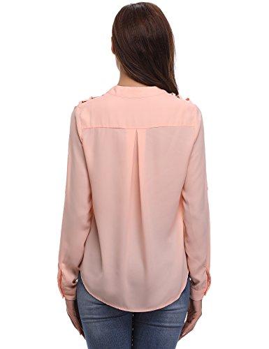 Chic Dnude Haut Rglable Ample Chemisier Vintage Pull Longues lgant Femme Silk Tunique Blouse Top Mousseline Manches Soie de paule Fluide Rose Casual Tendance gY67q