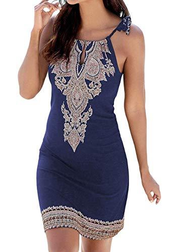 - BLUETIME Women's Casual Loose Fit Boho Print Cami Dress Sleeveless Cocktail Flared Ethnic Beach Dresses T Shirt Dresses (L, Navy Blue)