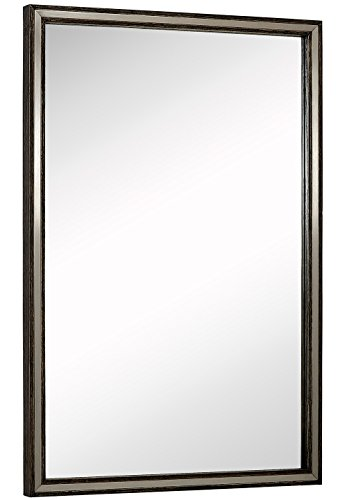 Large Metal Inlaid Wood Frame Wall Mirror | Glass Panel Silver Stainless in Pewter Gray |  Vanity, Bedroom, or Bathroom | Mirrored Rectangle Hangs Horizontal or Vertical 24
