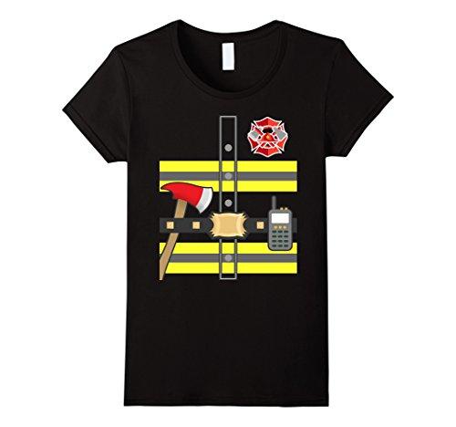 Womens Kids Fireman Shirt - Firefighter Halloween Costume Large Black